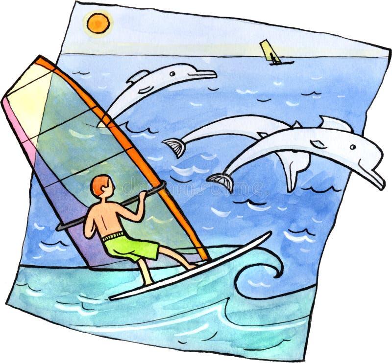 Vindsurfa med delfin vektor illustrationer