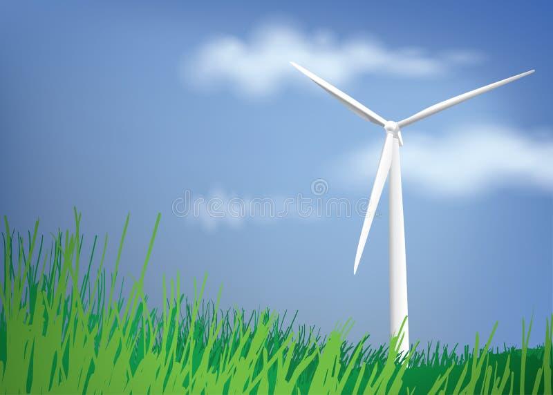 Vindturbin med blå himmel och grönt gräs vektor illustrationer