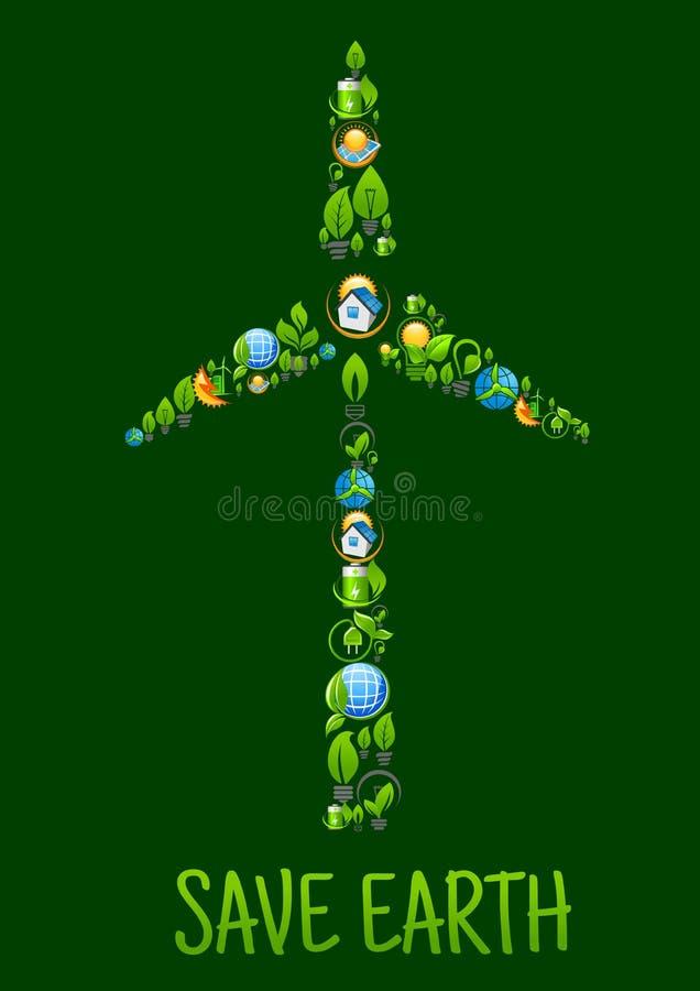 Vindturbin med ecomakt- och gräsplanenergisymboler royaltyfri illustrationer