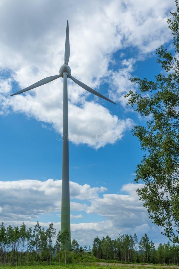 Vindturbiner i skogen med blå himmel Ekologiskt maktbegrepp fotografering för bildbyråer