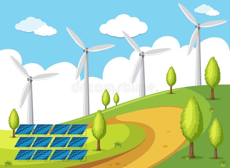 Vindturbiner och solarcell på kullarna vektor illustrationer