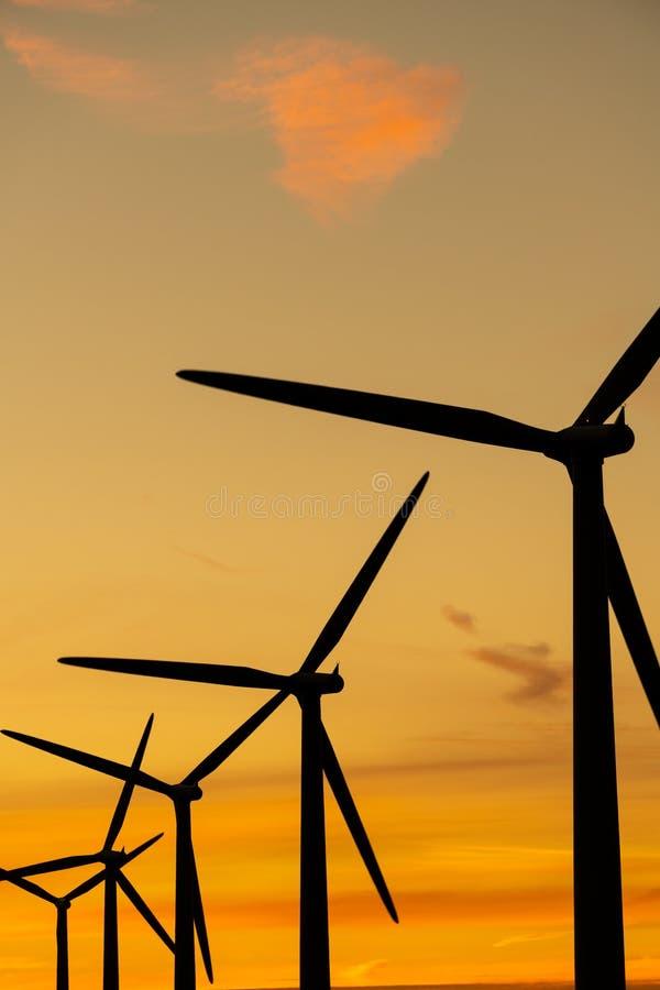Vindturbiner på en vindlantgård på solnedgången, UK fotografering för bildbyråer