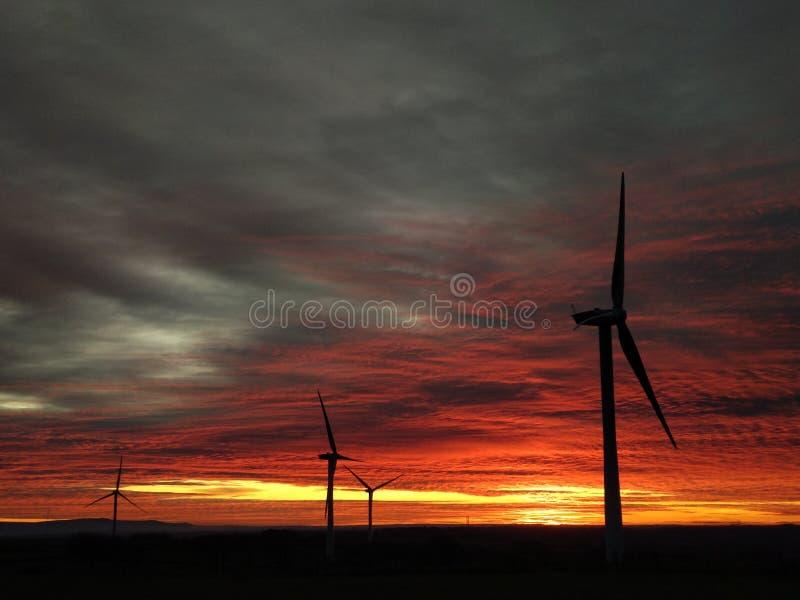 Vindturbiner silhuetterade mot det dramatiska solnedgången royaltyfria bilder