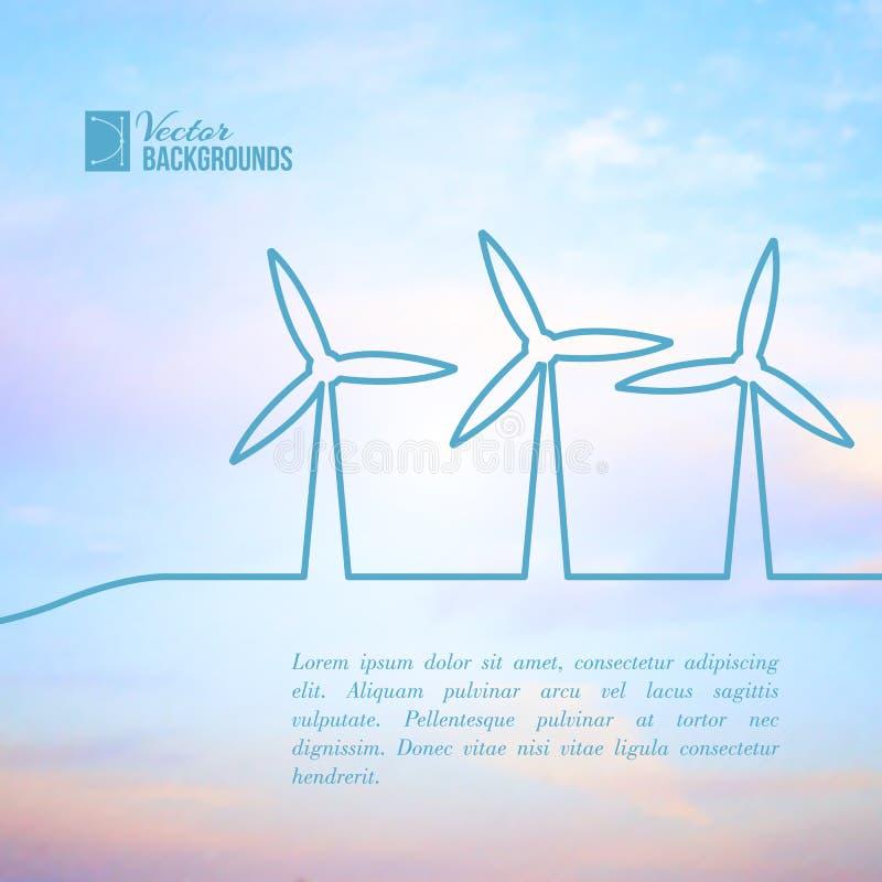 Vindturbiner som frambringar elektricitet. stock illustrationer
