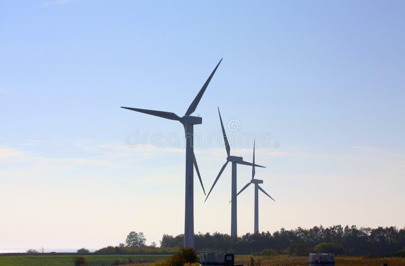 Vindturbiner som frambringar förnybar ren miljövänlig elektricitetsbild för alternativ energi med kopieringsutrymme royaltyfria foton
