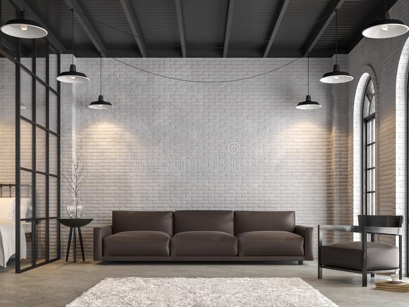 Vindvardagsrum och sovrummet 3d framför royaltyfri illustrationer