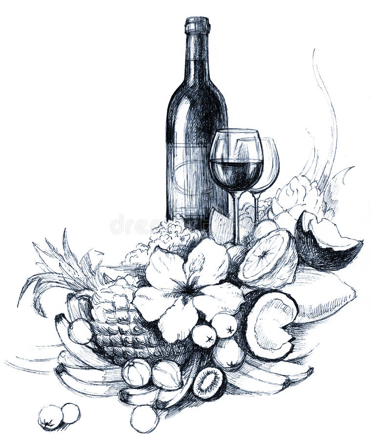 Vine. Painting of vine and fruits (series A stock illustration