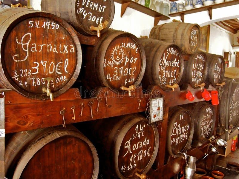 Vine barrels on the spaine market royalty free stock images