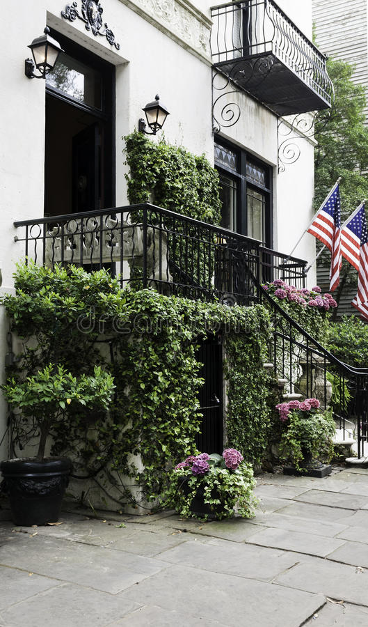 Vine covered mansion entrance royalty free stock photo