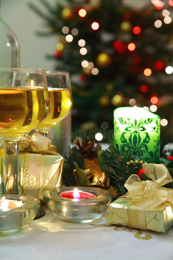 Vine, gifts and lights. royalty free stock photography