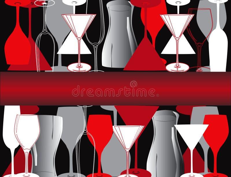 Vine glasses Bar lounge coffe Illustration vector royalty free illustration
