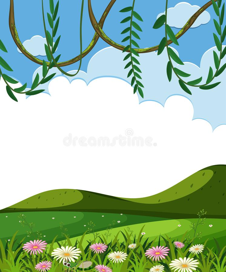 Vine and Green Hills Template. Illustration royalty free illustration