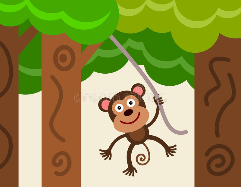 Download Vine monkey stock illustration. Image of forest, cartoon - 33043486