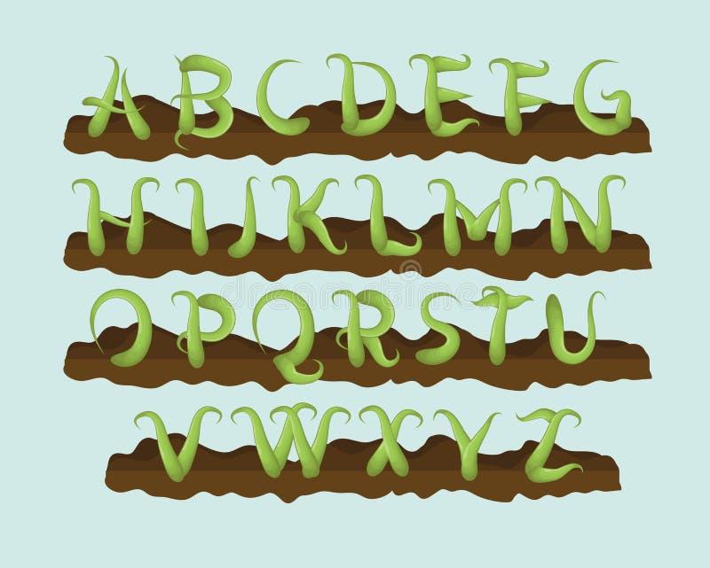 Vine plant letter alphabet. Fun hand drawn vine letter alphabet stock illustration