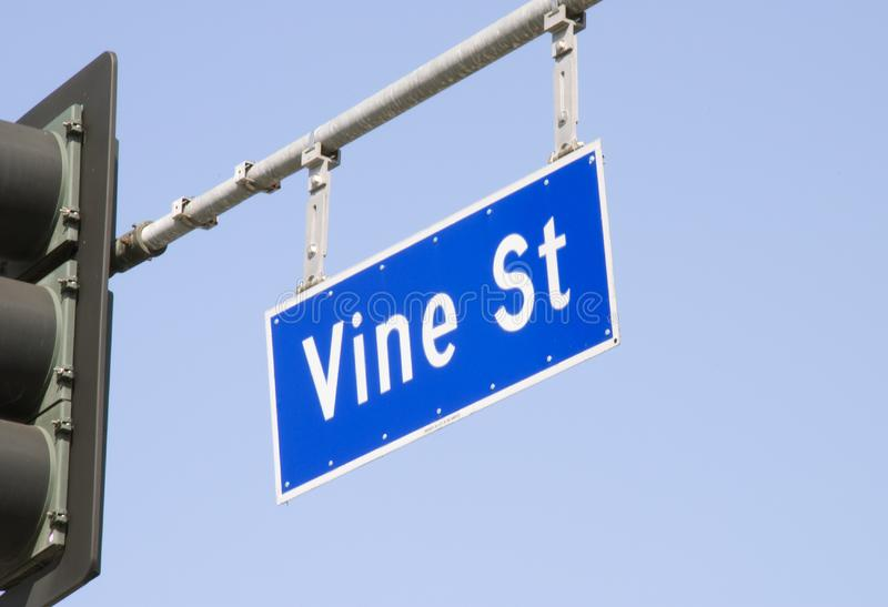 Vine Street Sign in Los Angeles stock photos
