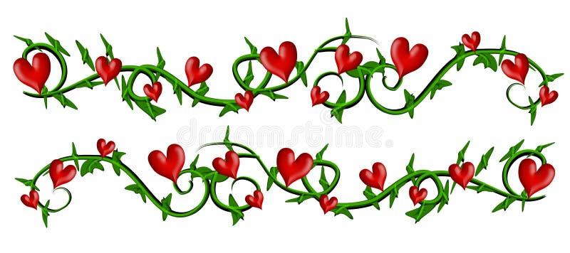 Vine With Valentine Hearts Borders vector illustration