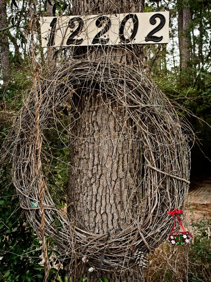 Free Vine Wreath On A Tree With Numbers Royalty Free Stock Images - 112935729