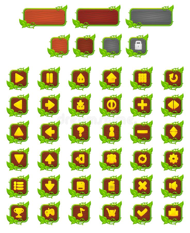 Vines and Leaves Game Button Set. Collection of vines, leaves, and wooden game buttons set for creating 2d video games royalty free illustration