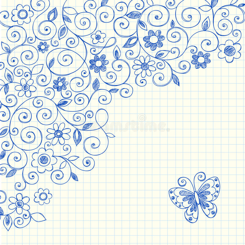 Download Vines Sketchy Notebook Doodles On Graph Paper Stock Vector - Image: 11011865