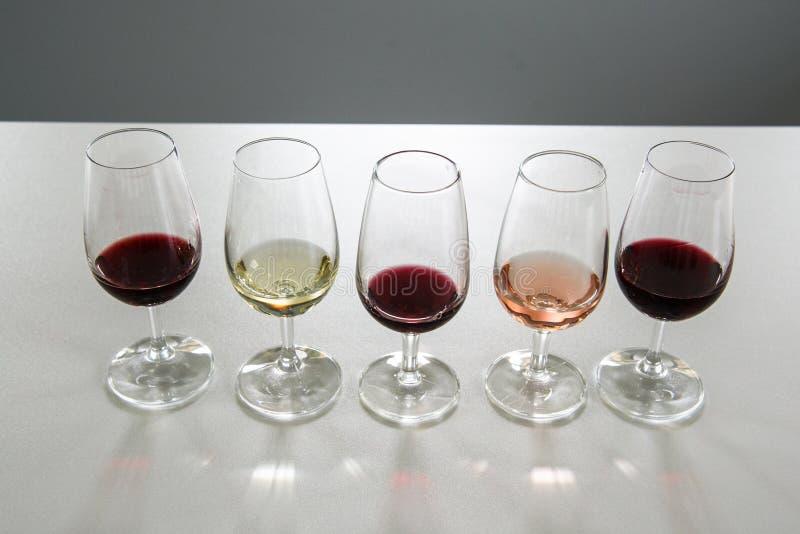 Vinexponeringsglas för vinavsmakning royaltyfri fotografi