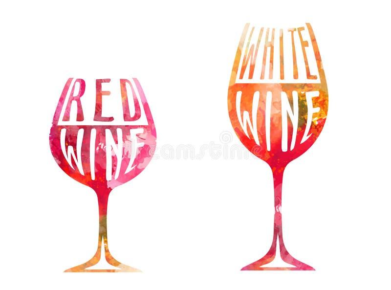 Vinexponeringsglas med färgrika stämplar och delare vektor illustrationer