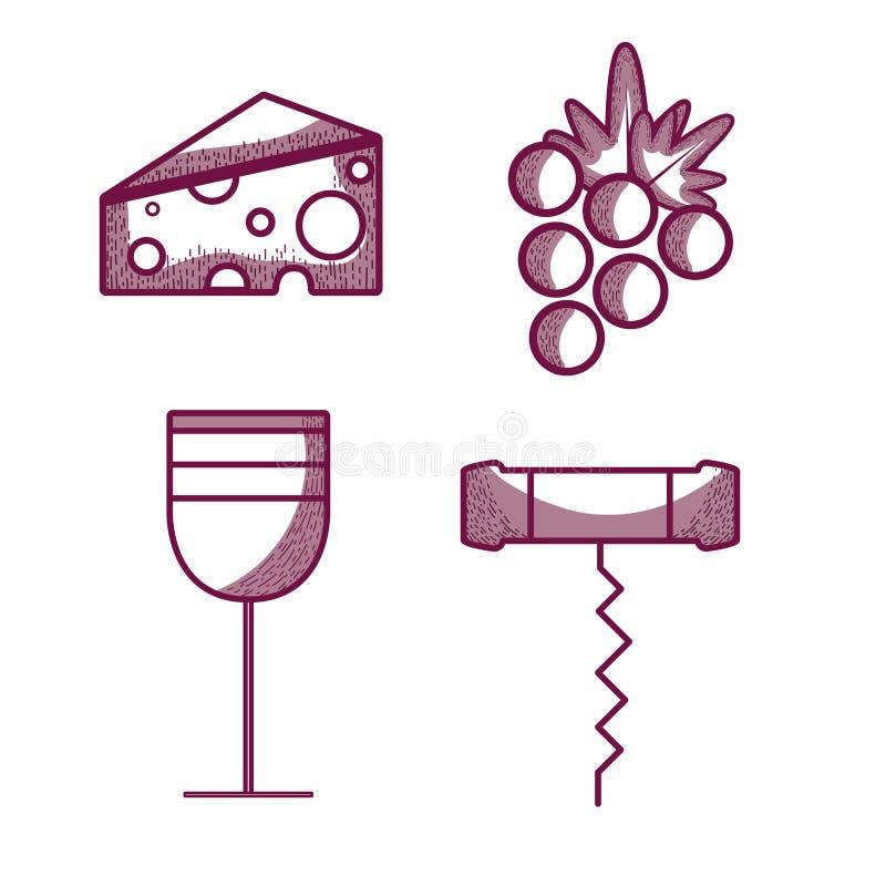 Vinexponeringsglas med ost, druvan och korkskruvet vektor illustrationer