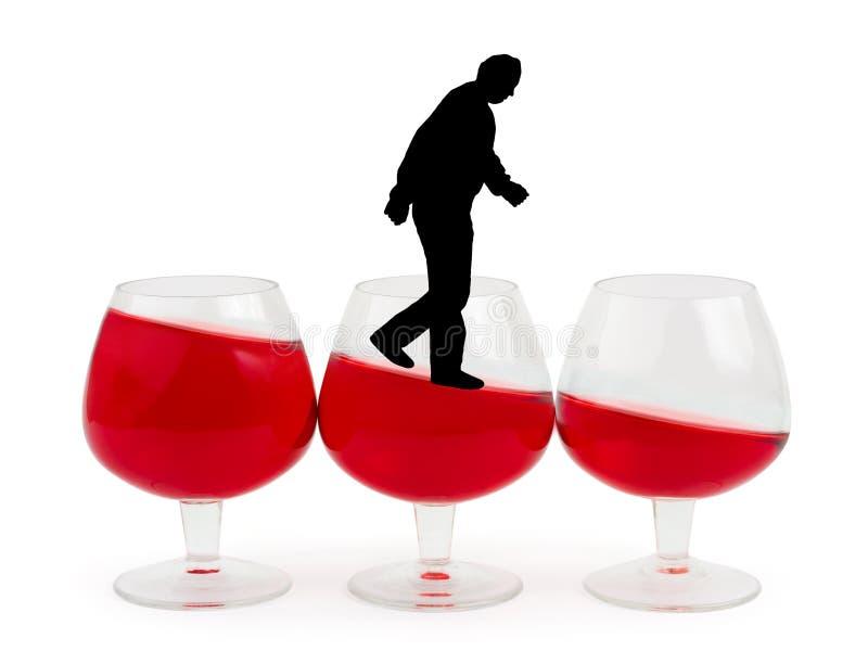 Vinexponeringsglas och alkoholiserad man royaltyfria foton