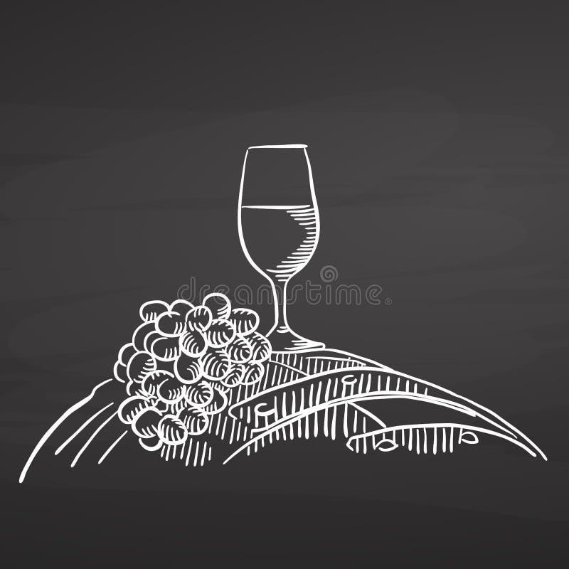 Vinexponeringsglas och druvor på trumma tavla för krita stock illustrationer