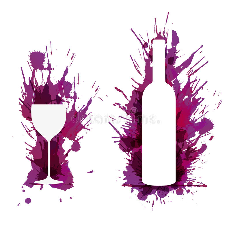 Vinexponeringsglas och flaska framme av färgrika grungefärgstänk stock illustrationer