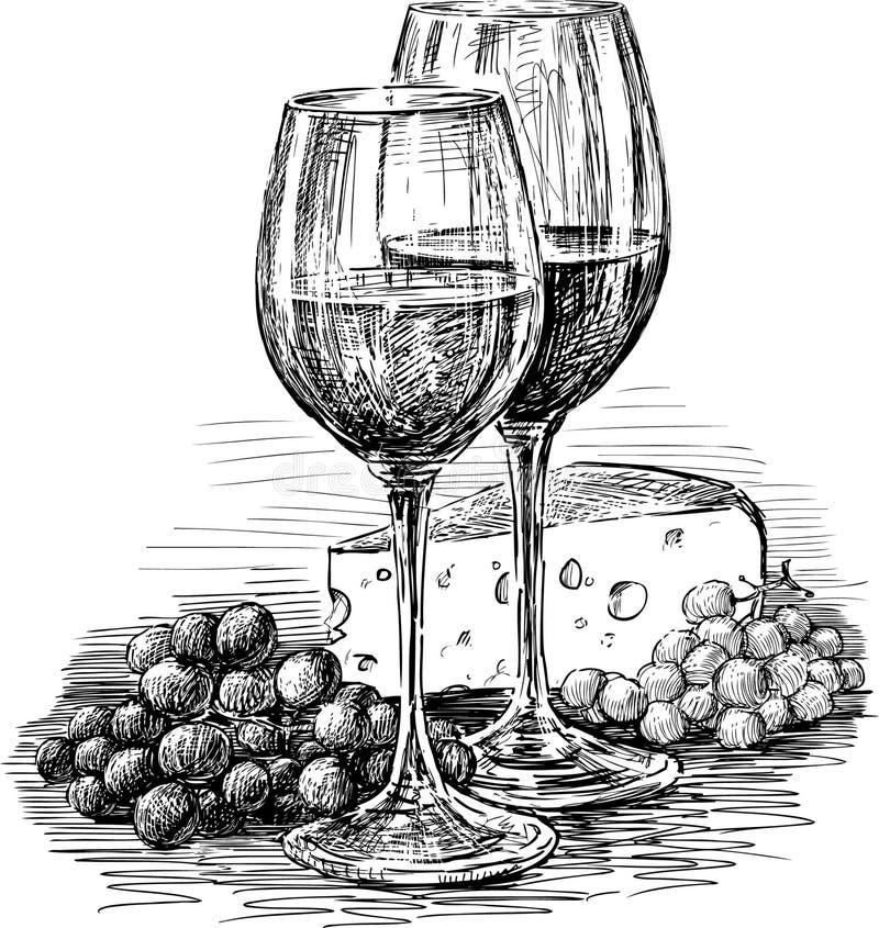 Vinexponeringsglas och ost stock illustrationer