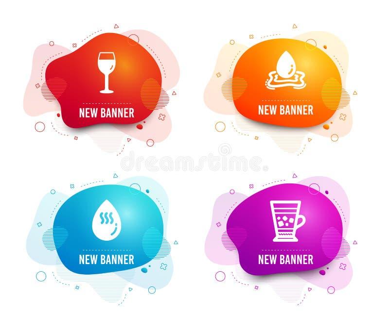 Vinexponeringsglas, varmvatten- och vattenfärgstänksymboler Frappe tecken Bordeaux exponeringsglas, Aquadroppe, kall drink vektor royaltyfri illustrationer