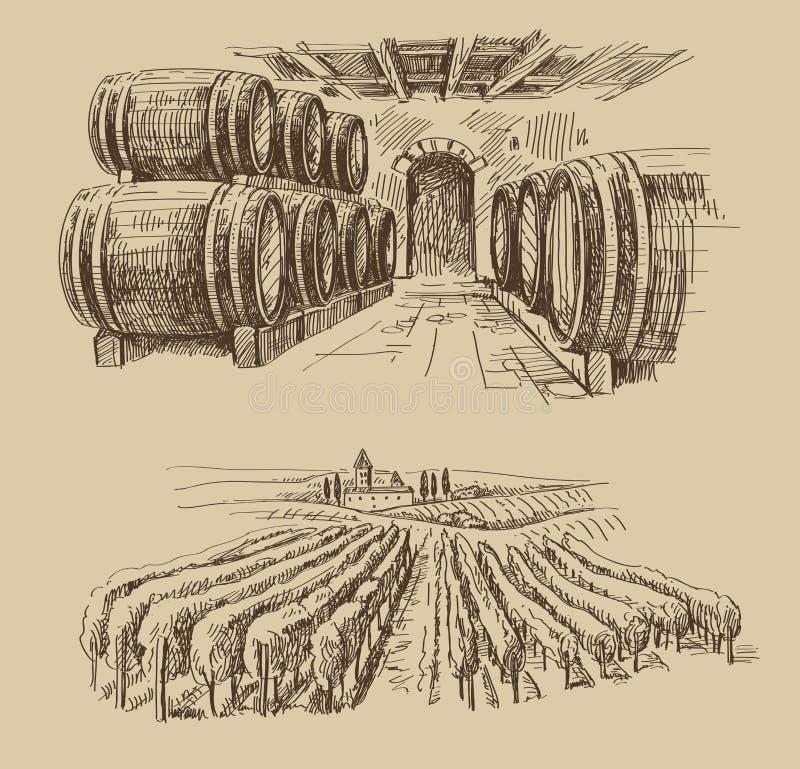 Vineyard doodle. Vector hand drawn barrels sketch and vineyard doodle royalty free illustration