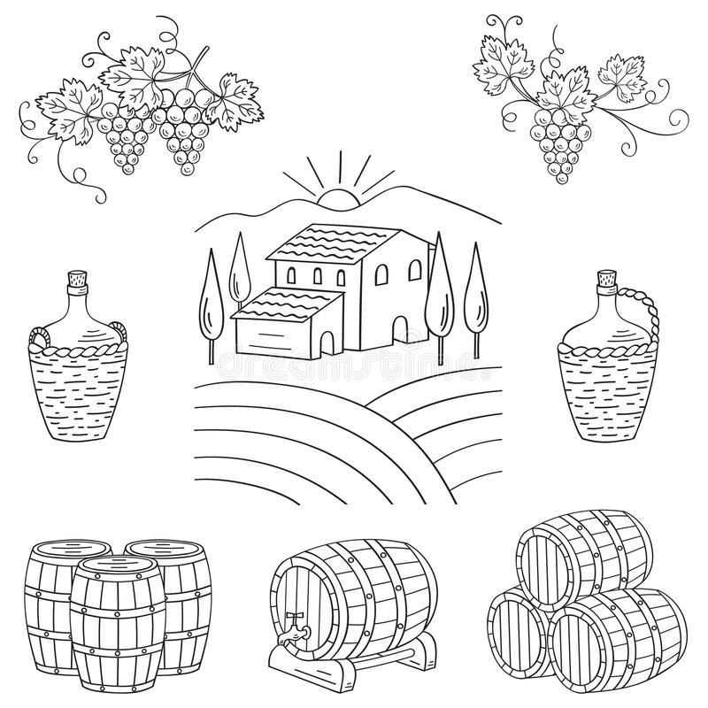 Vineyard farm village landscape vector illustration. Hand drawn doodle. Wine and wine making set grapes, barrels, cellar isolated. Wine design elements on white royalty free illustration
