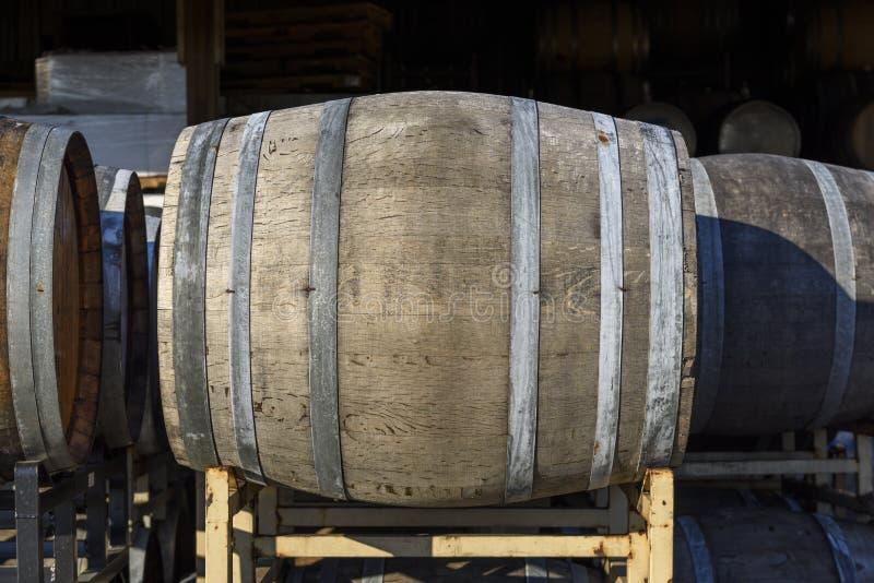 Vineyard Oak Barrels, Mid-Willamette Valley, Marion County, Western Oregon. Wine Oak Barrels, Mid-Willamette Valley stock photo