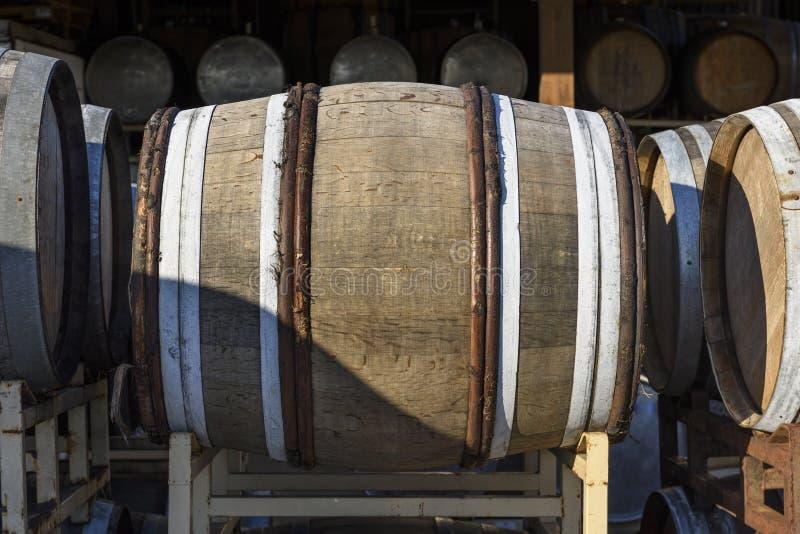 Vineyard Oak Barrels, Mid-Willamette Valley, Marion County, Western Oregon. Wine Oak Barrels, Mid-Willamette Valley stock images