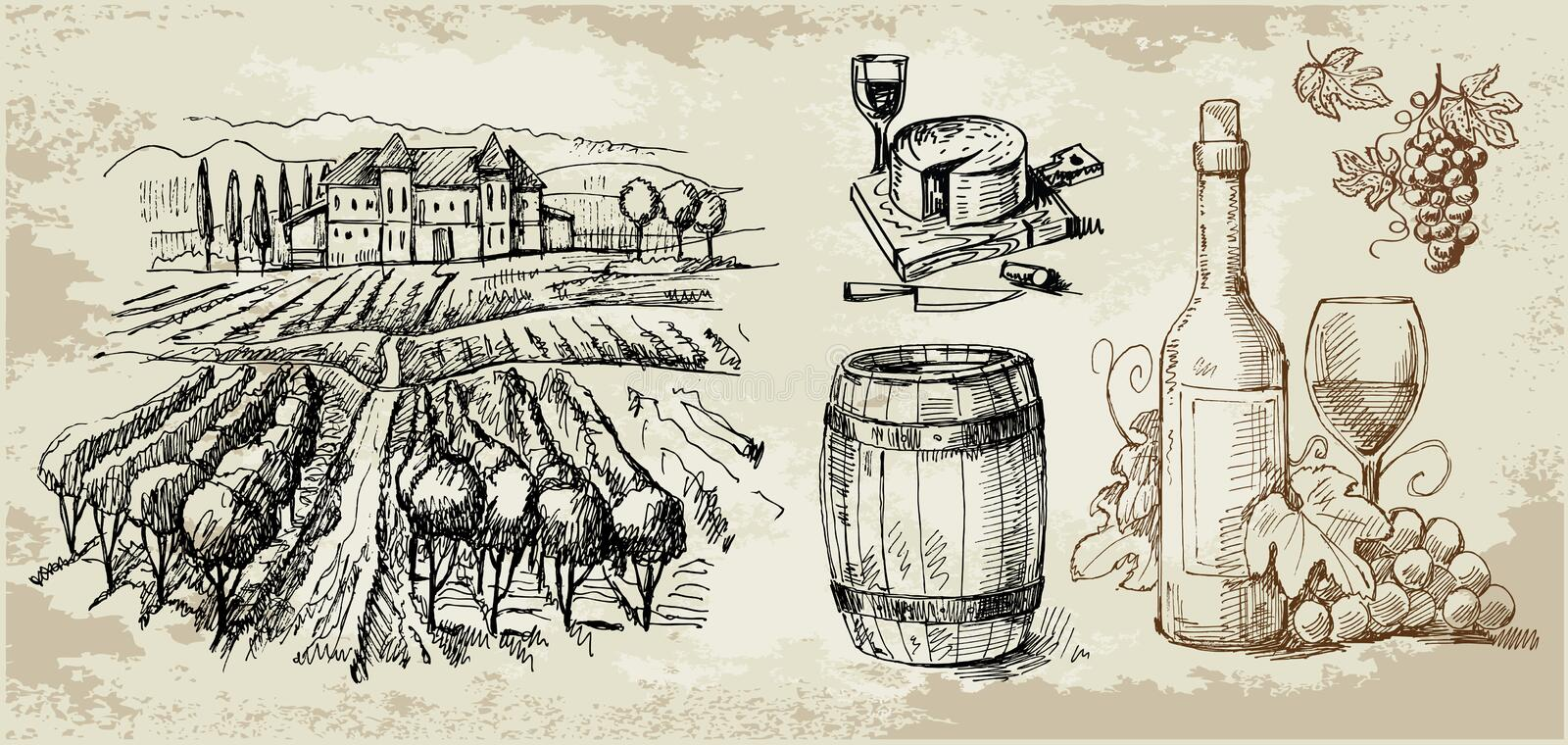 Vineyard-original Hand Drawn Collection Royalty Free Stock Photography