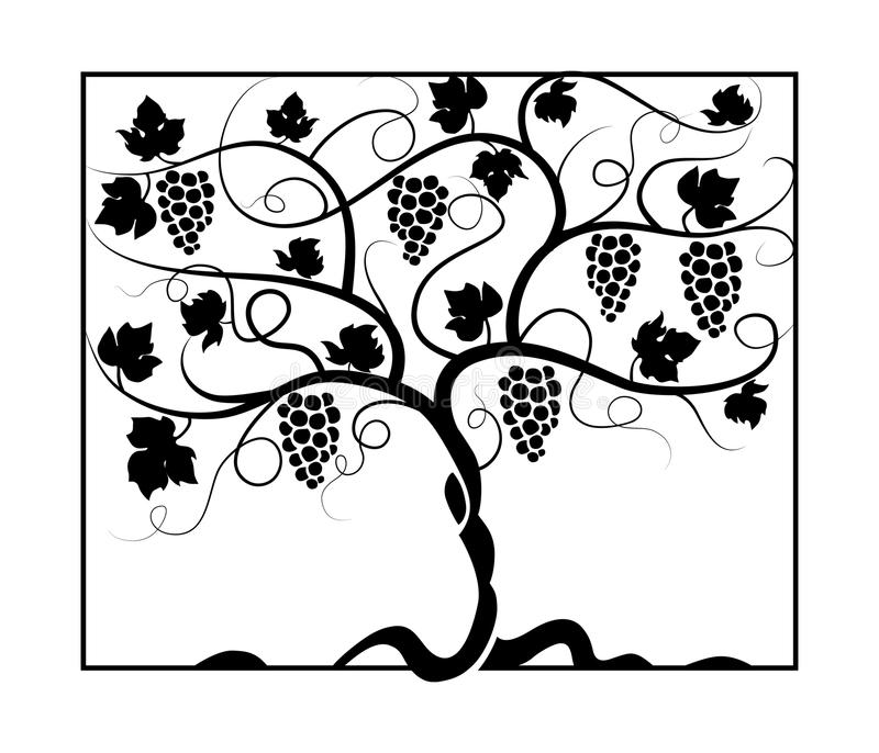 Vineyard_painting royalty-vrije illustratie