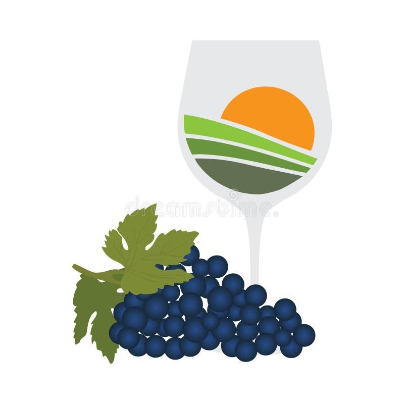 Wine with vineyard. Vineyard sunset inside wine glass stock illustration