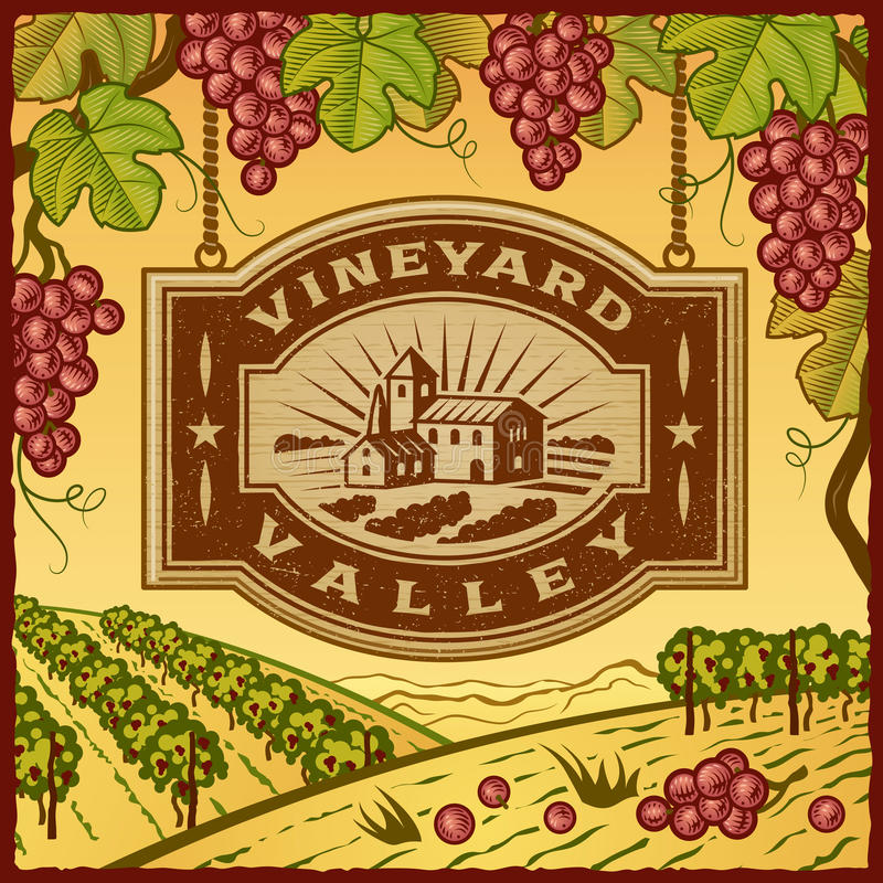 Vineyard Valley. Retro landscape with Vineyard Valley sign in woodcut style. Vector illustration with clipping mask royalty free illustration