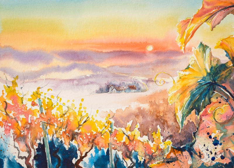 Vineyard. Watercolor painted illustration of Styrian Tuscany Vineyard at sunset,Austria stock illustration