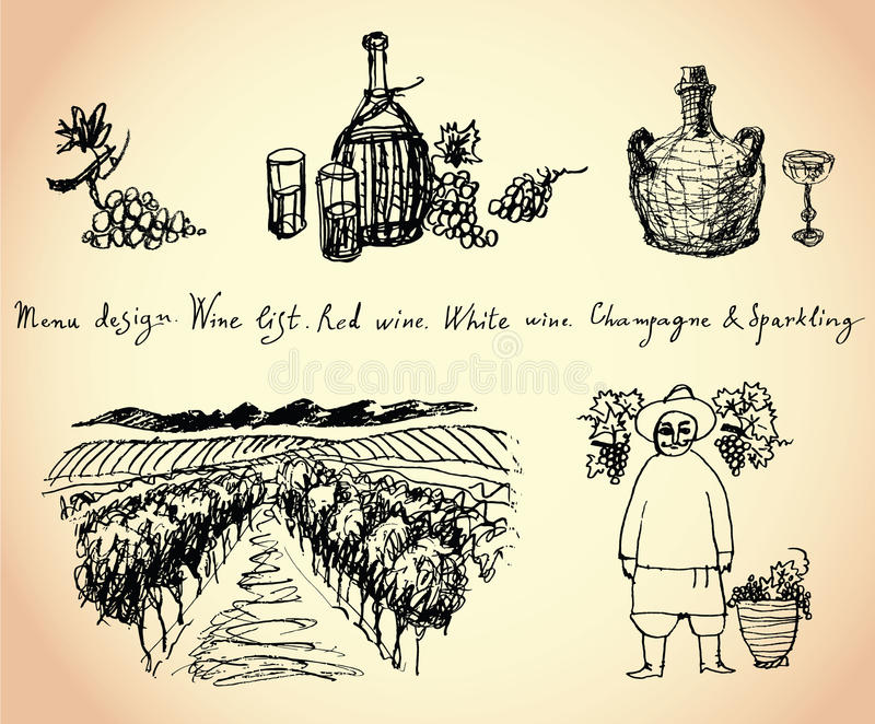 Download Vineyard. Wine & Grape Illustration. Royalty Free Stock Photo - Image: 32402965