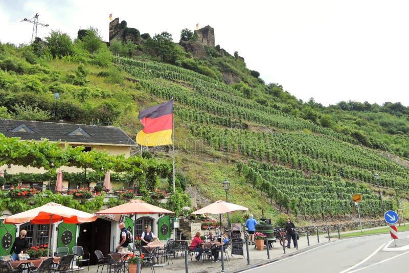 Vineyards and restaurant under Metternich Castle stock photos