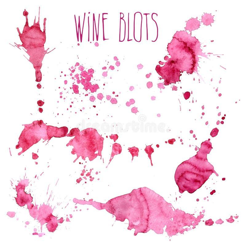 Vinfärgstänk och fläckbegrepp royaltyfri illustrationer