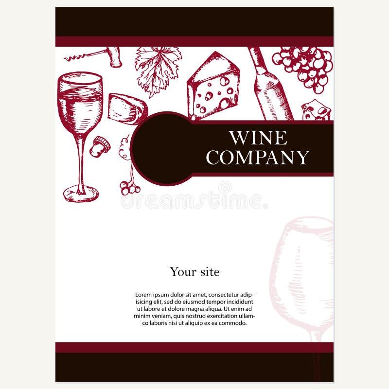 Vinföretag Restaurangtema vektor för mall för identitet för illustrationsaffär företags Dokumenttem vektor illustrationer