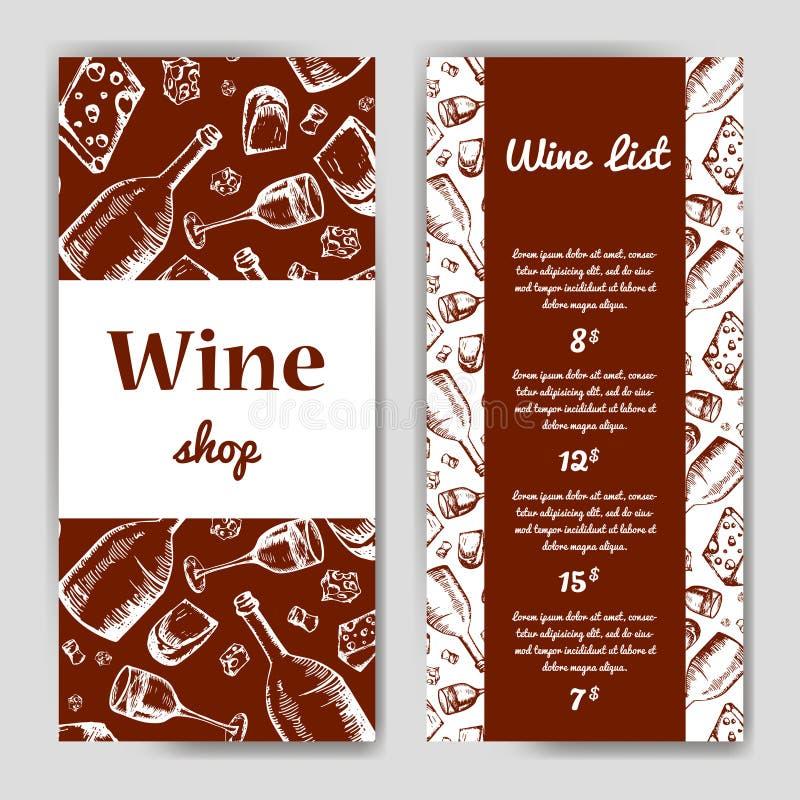 Vinföretag Restaurangtema vektor för mall för identitet för illustrationsaffär företags Dokumenttem stock illustrationer