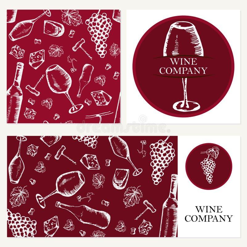 Vinföretag Retro kort, kuvert Restaurangtema Affär c royaltyfri illustrationer
