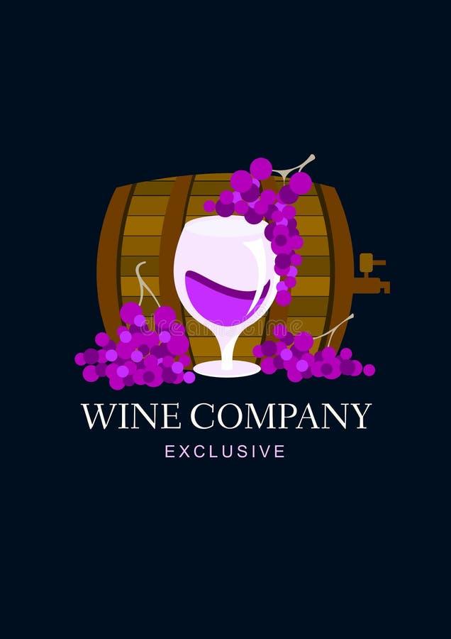 Vinföretagslogo med vinfatet och druvan Vektorlogodesign vektor illustrationer
