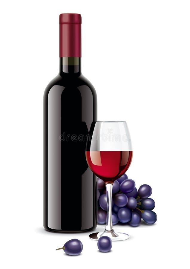 Vinflaska, druvor och vinglas royaltyfri illustrationer