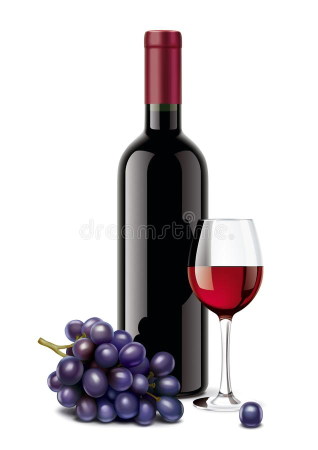Vinflaska, druvor och vinglas vektor illustrationer