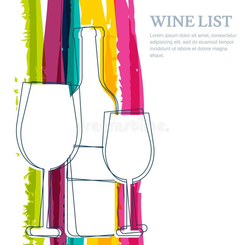 Vinflaska, glass kontur och bac för regnbågebandvattenfärg royaltyfri illustrationer